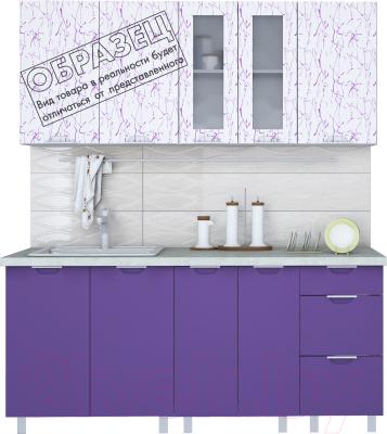 Готовая кухня Интерлиния Арт Мила 12x19 (арт фиолет) - образец цветового решения