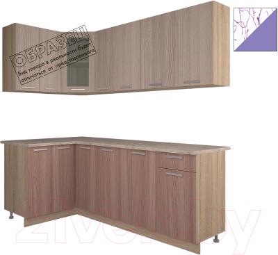 Готовая кухня Интерлиния Арт Мила 12x21 (арт фиолет)