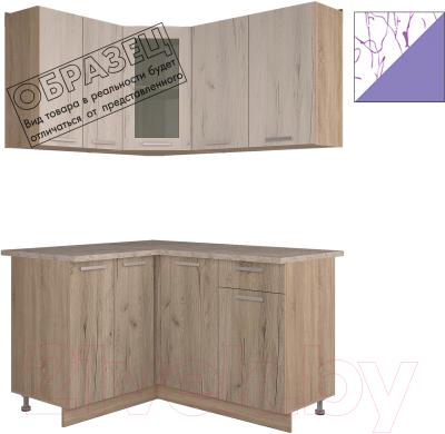 Готовая кухня Интерлиния Арт Мила 14x14 (арт фиолет)