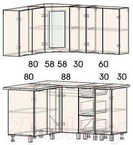 Готовая кухня Интерлиния Арт Мила 14x15 (арт фиолет)