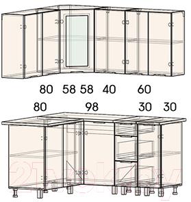 Готовая кухня Интерлиния Арт Мила 14x16 (арт фиолет)