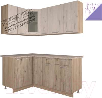 Готовая кухня Интерлиния Арт Мила 14x17 (арт фиолет)