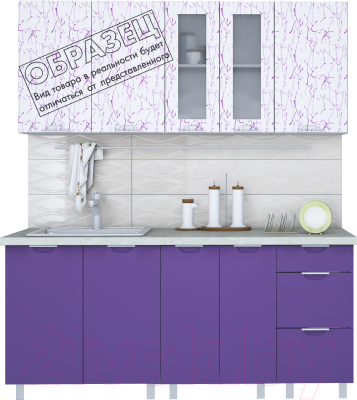 Готовая кухня Интерлиния Арт Мила 14x23 (арт фиолет) - образец цветового решения