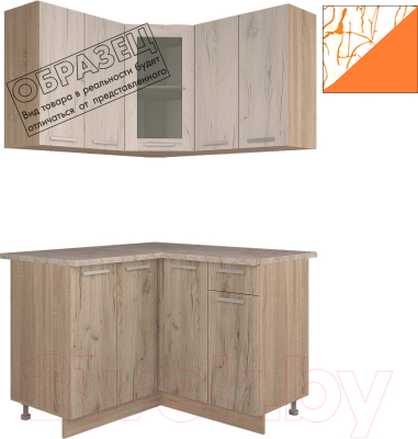 Готовая кухня Интерлиния Арт Мила 12x12 (арт шафран)