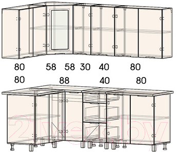 Готовая кухня Интерлиния Арт Мила 14x21 (арт шафран)