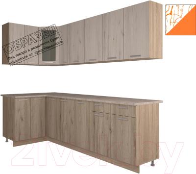 Готовая кухня Интерлиния Арт Мила 14x25 (арт шафран)