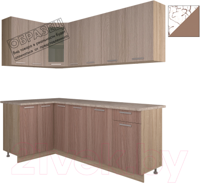 Готовая кухня Интерлиния Арт Мила 12x21 (арт шоколад)