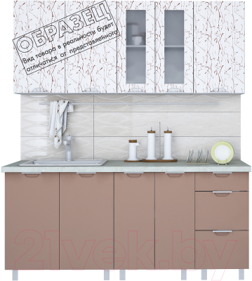 Готовая кухня Интерлиния Арт Мила 14x19 (арт шоколад) - образец цветового решения