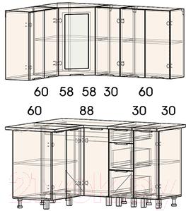 Готовая кухня Интерлиния Арт Мила 12x15 (белый/графит)