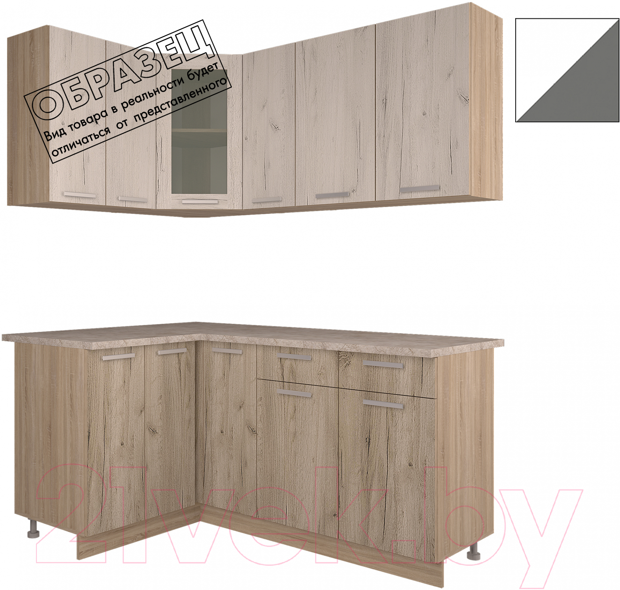 Купить Готовая кухня Интерлиния, Арт Мила 12x17 (белый/графит), Беларусь