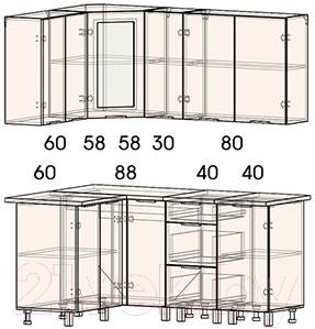 Готовая кухня Интерлиния Арт Мила 12x17 (белый/графит)