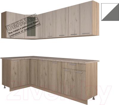 Готовая кухня Интерлиния Арт Мила 12x23 (белый/графит)