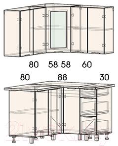 Готовая кухня Интерлиния Арт Мила 14x12 (белый/графит)