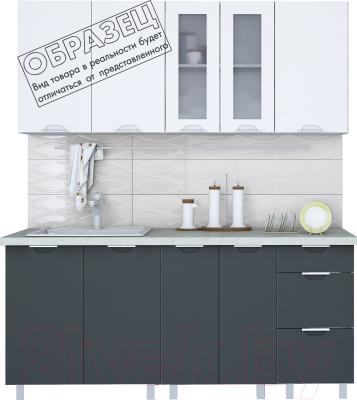 Готовая кухня Интерлиния Арт Мила 14x17 (белый/графит) - образец цветового решения