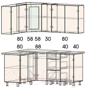 Готовая кухня Интерлиния Арт Мила 14x17 (белый/графит)