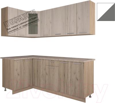 Готовая кухня Интерлиния Арт Мила 14x20 (белый/графит)