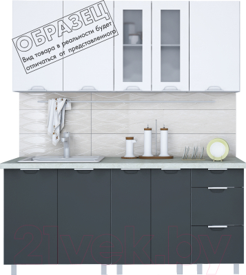 Готовая кухня Интерлиния Арт Мила 14x20 (белый/графит) - образец цветового решения