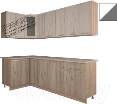 Готовая кухня Интерлиния Арт Мила 14x23 (белый/графит)