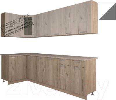 Готовая кухня Интерлиния Арт Мила 14x26 (белый/графит)