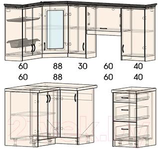 Готовая кухня Интерлиния Мила Шале 12x18 (белое дерево)