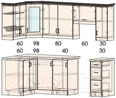 Готовая кухня Интерлиния Мила Шале 12x23 (белое дерево)