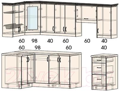 Готовая кухня Интерлиния Мила Шале 12x26 (белое дерево)