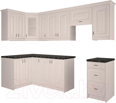 Готовая кухня Интерлиния Мила Шале 12x27 (белое дерево)