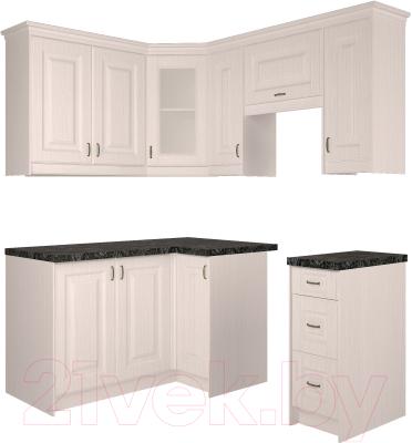 Готовая кухня Интерлиния Мила Шале 14x18 (белое дерево)