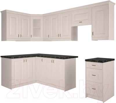 Готовая кухня Интерлиния Мила Шале 14x27 (белое дерево)