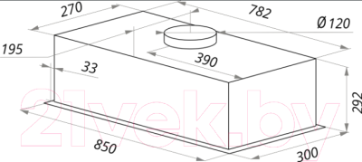 Вытяжка скрытая Maunfeld Crosby Push 90 Gl (нержавеющая сталь) - cхема встраивания