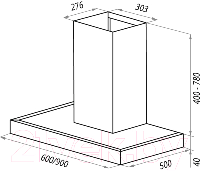 Вытяжка Т-образная Maunfeld Roding Slim 90 (нержавеющая сталь)