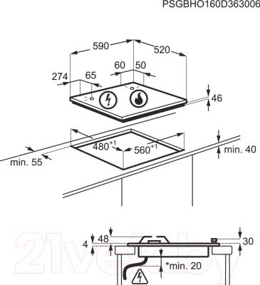 Газовая варочная панель Electrolux GPE363RCK
