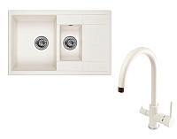 Мойка кухонная Granula GR-7802 + смеситель Spring 35-09/L (арктик) -