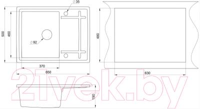 Мойка кухонная Granula GR-6501 + смеситель Spring 35-09/L (базальт)