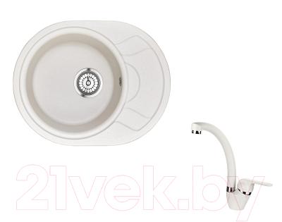 Мойка кухонная Granula GR-5802 + смеситель Vector 40-03 (арктик)