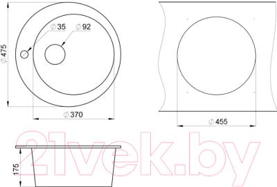 Мойка кухонная Granula GR-4801 + смеситель Yota 25-03L (брют)