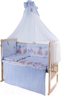 Комплект в кроватку Баю-Бай Забава К80-З4 (голубой)