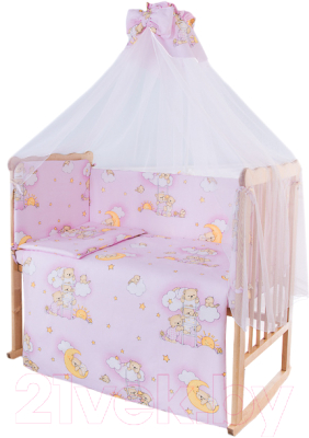 Комплект в кроватку Баю-Бай Нежность К80-Н1 (розовый)