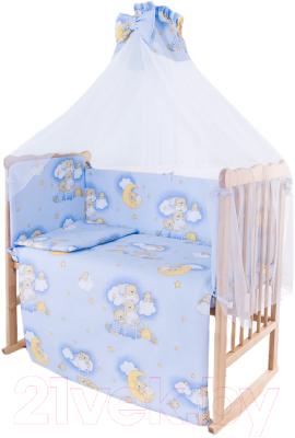 Комплект в кроватку Баю-Бай Нежность К80-Н4 (голубой)