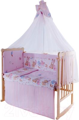 Комплект в кроватку Баю-Бай Забава К90-З1 (розовый)