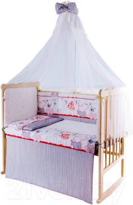 Комплект постельный в кроватку Баю-Бай Дружба К120-Д1 (красный)