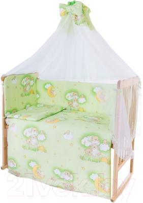 Комплект в кроватку Баю-Бай Нежность К120-Н3 (зеленый)
