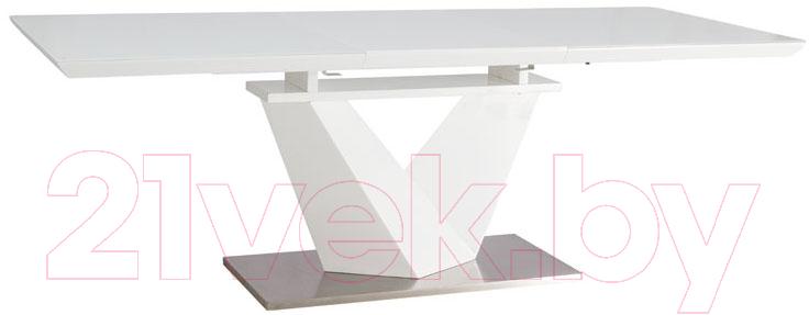 Купить Обеденный стол Signal, Alaras III 160-220x90 (белый лак/белый), Польша