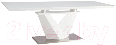 Обеденный стол Signal Alaras III 160-220x90 (белый лак/белый)