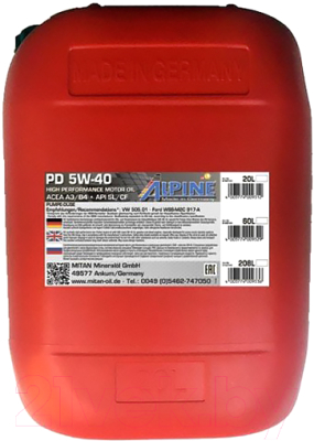 Моторное масло ALPINE PD Pumpe-Duse 5W40 / 0100163 (20л)