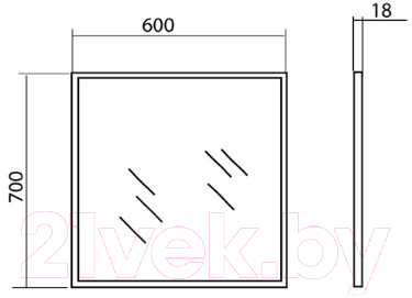 Зеркало для ванной Аква Родос Акцент 60 / AP0001674 (с подсветкой)