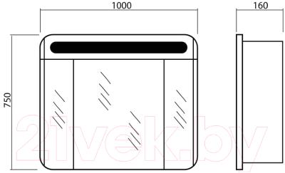 Шкаф с зеркалом для ванной Аква Родос Авалон 100 / АР0001549