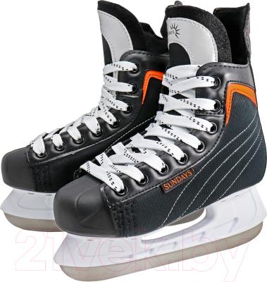 Коньки хоккейные Sundays PW-206G (34, черный/оранжевый)
