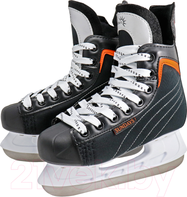 Коньки хоккейные Sundays PW-206G (43, черный/оранжевый)