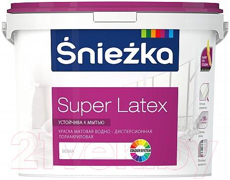 Купить Краска Sniezka, Super Latex латексная (4.7л), Беларусь, белый